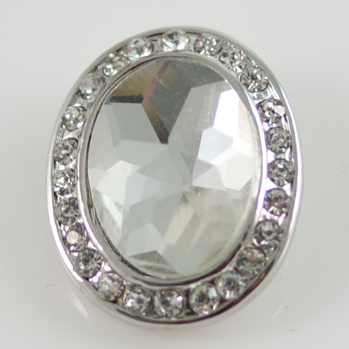Snap Jewelry Rhinestone - Faceted Oval - Clear