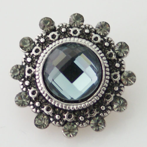 Snap Jewelry Rhinestone - Designer Faceted Smokey Gray