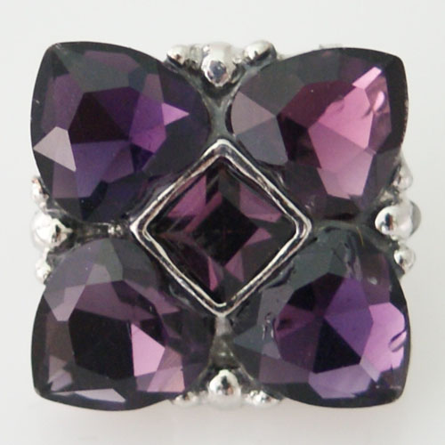 Snap Jewelry Rhinestone - Cornered Hearts - Purple