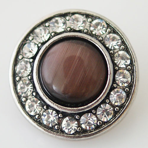 Snap Jewelry Gemstones - Cats Eye Brown Stone & Rhinestones