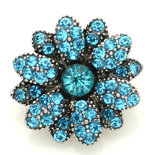Snap Jewelry Rhinestone - Flower Light Blue