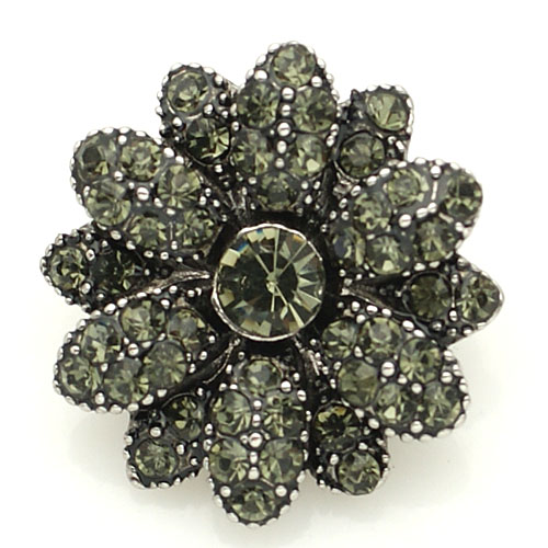 Snap Jewelry Rhinestone - Antique Flower - Gray