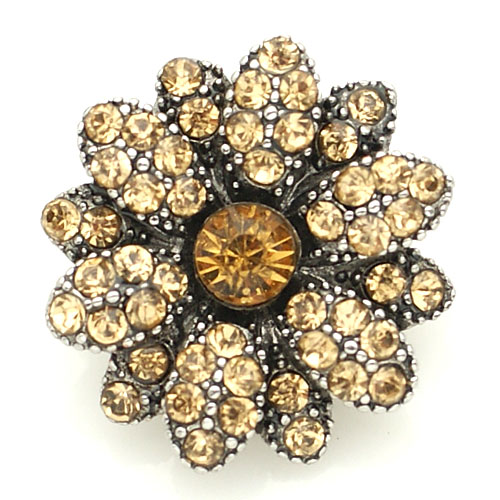 Snap Jewelry Rhinestone - Flower Tan