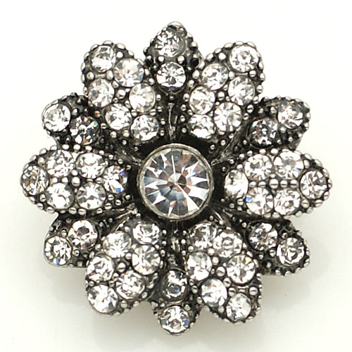 Snap Jewelry Rhinestone - Antique Flower Clear