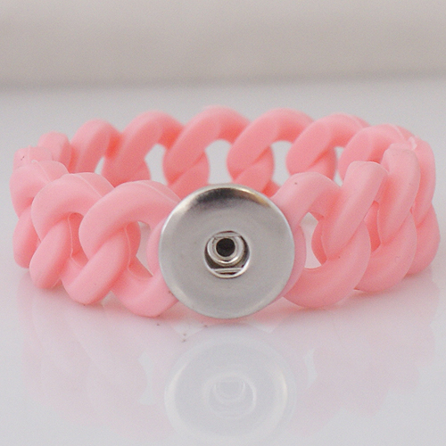 Snap Jewelry Bracelet Silicone Stretch - Pink Single Snap