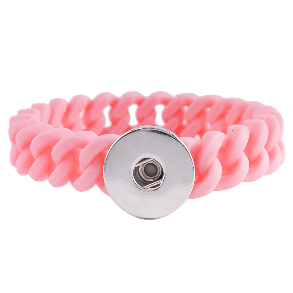 Snap Jewelry Bracelet Silicone Stretch - Pink Narrow Band