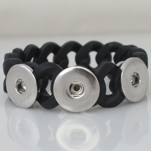 Snap Jewelry Bracelet Silicone Black Holds 3 18-20mm Snaps 7.2""