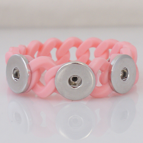 Snap Jewelry Bracelet Silicone Pink Holds 3 18-20mm Snaps 7.2""
