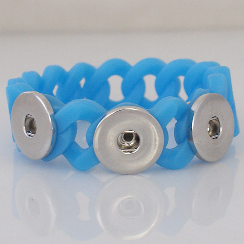 Snap Jewelry Bracelet Silicone Blue Holds 3 18-20mm Snap 7.2""