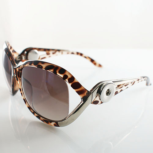 Snap Jewelry Sunglasses - Silver, Leopard & Brown