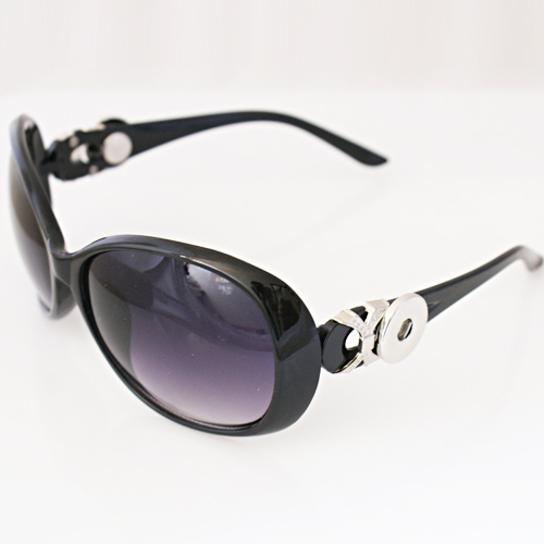 Snap Jewelry Sunglasses - Black & Silver Accent