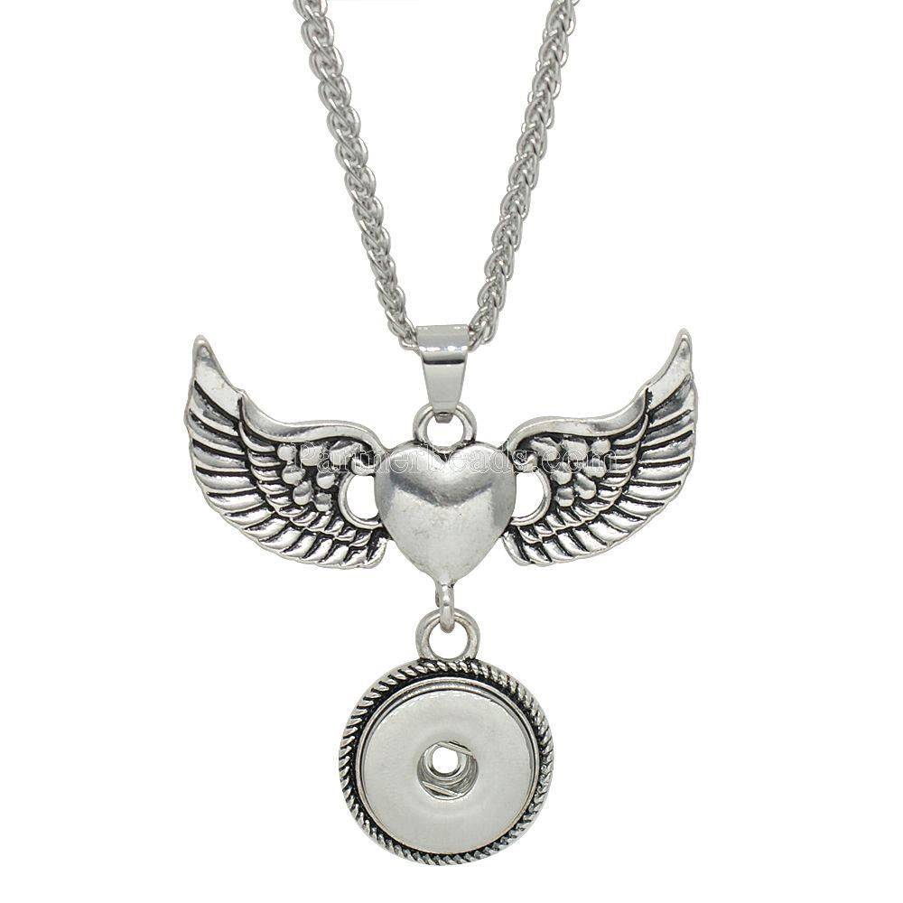 Snap Jewelry Necklace & Pendant - Wings and Heart