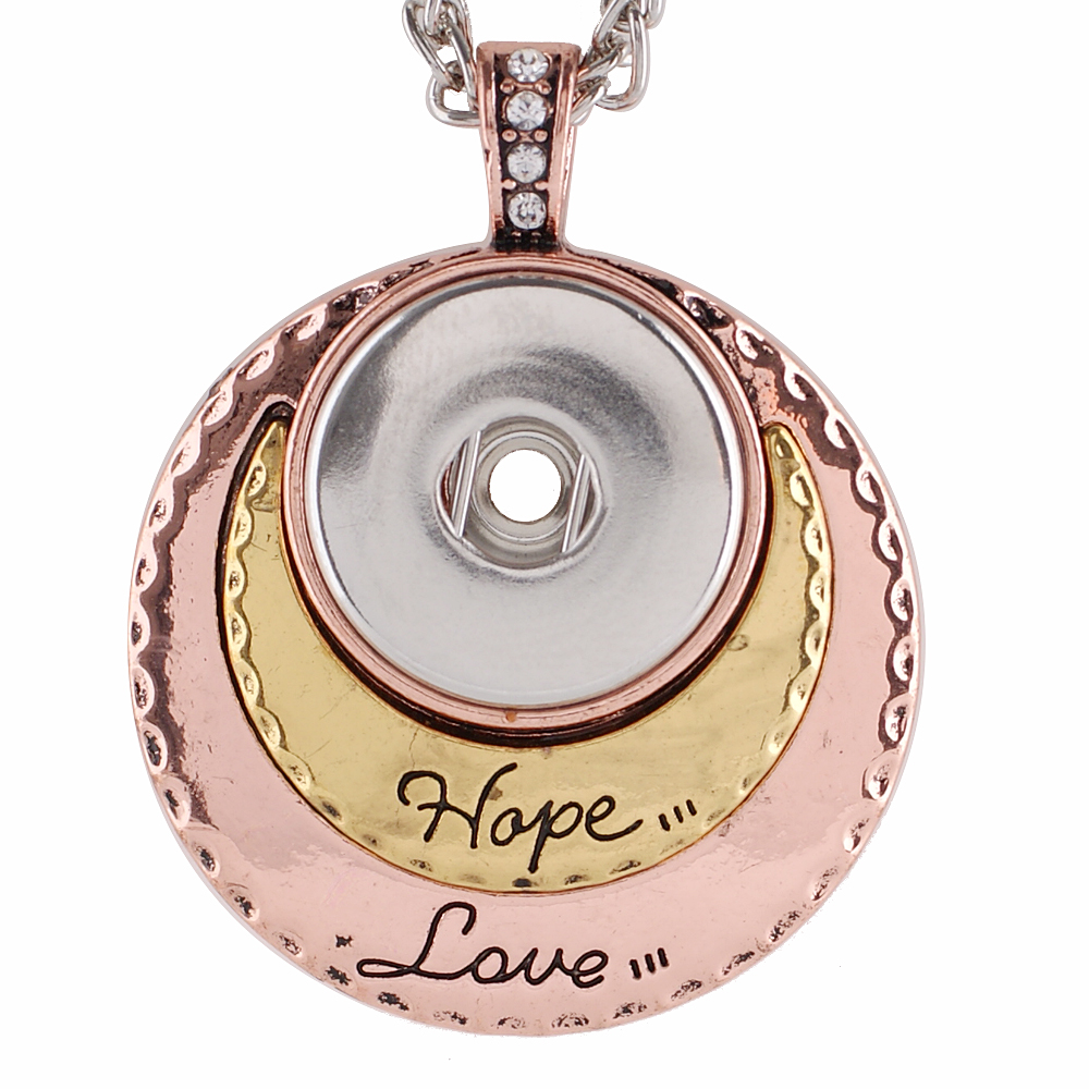 Snap Jewelry Pendant - Tricolor Hope & Love