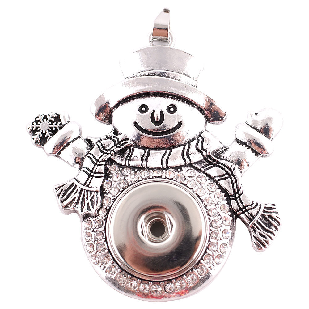 Snap jewelry Pendant - Snowman Christmas Metal & Clear