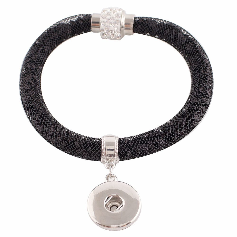 Snap Jewelry Bracelet Magnetic Crystal Mesh - Black & Clear