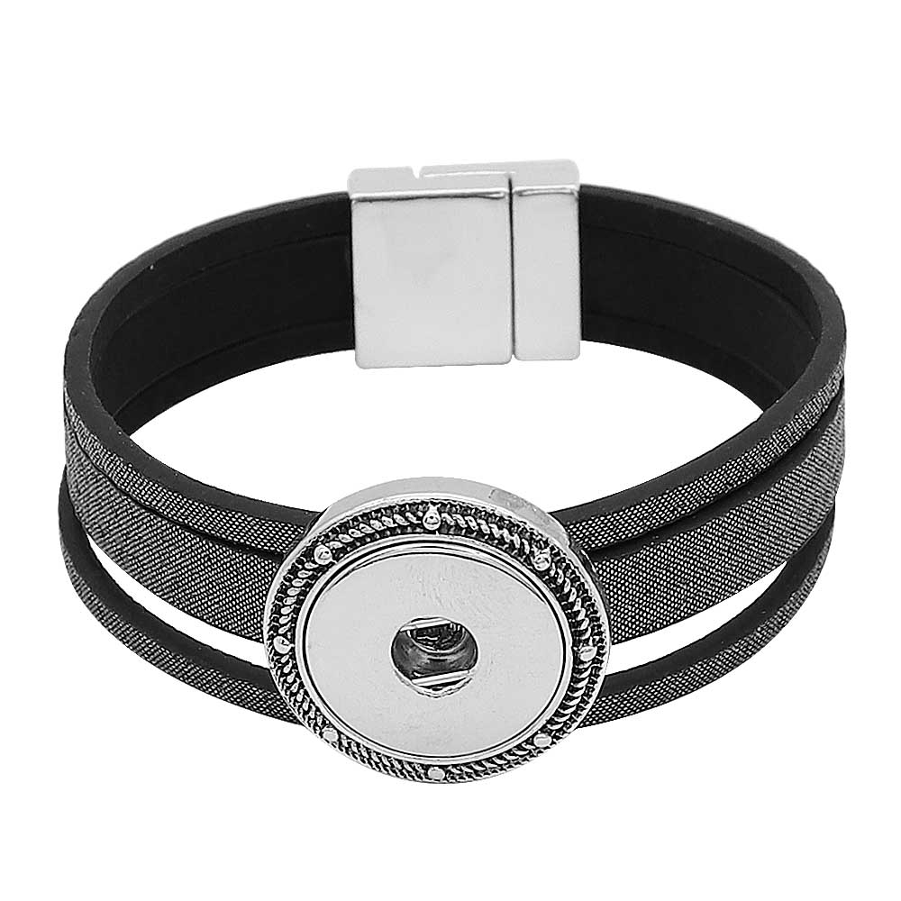 Snap Jewelry Bracelet - REAL Leather Magnetic Clasping
