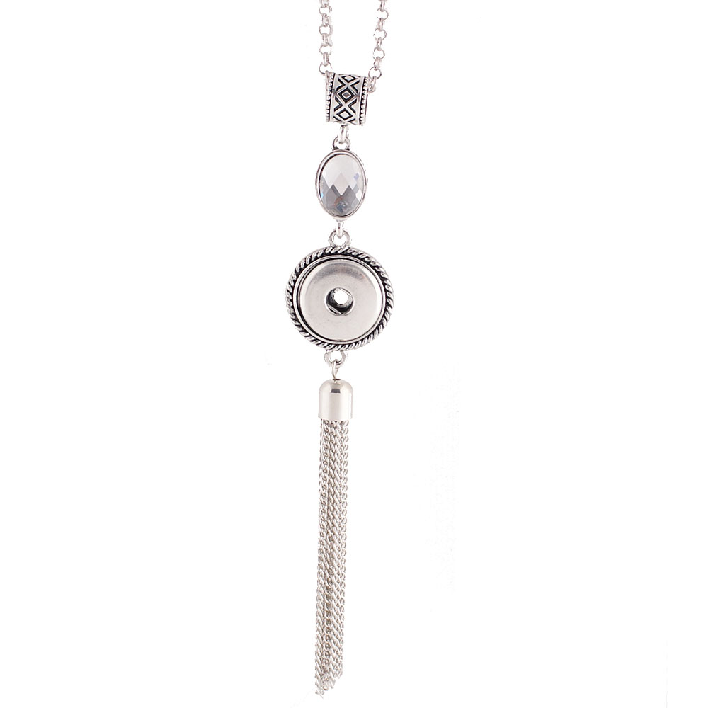 "Snap Jewelry Faceted Crystal Tassel Necklace Drop 32""+3"""