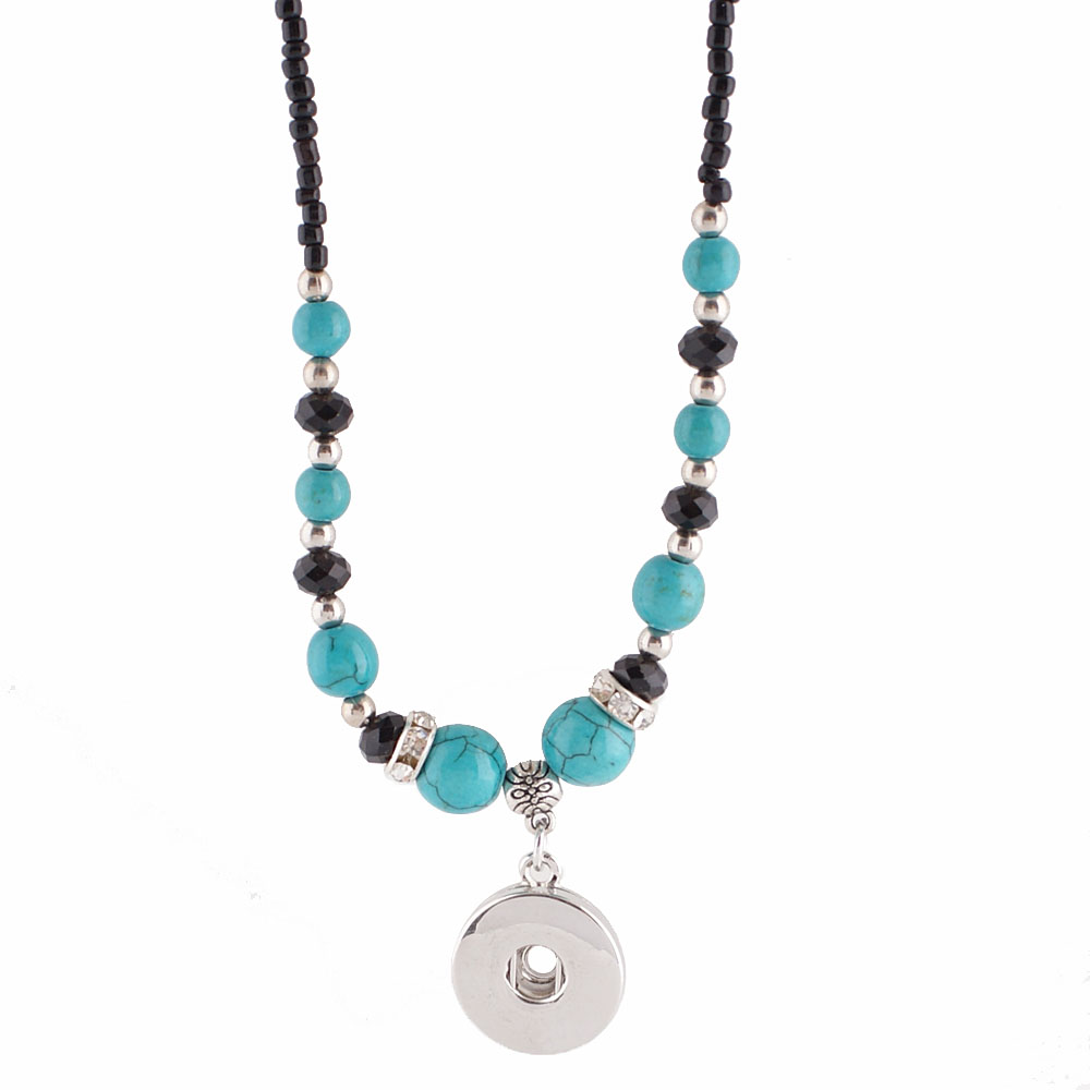 Snap Jewelry Stone Necklace - Turquoise and Black