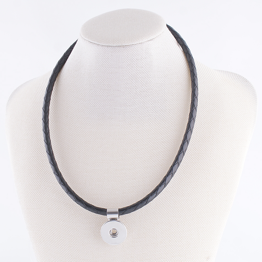 Snap Jewelry Leather Necklace - Black
