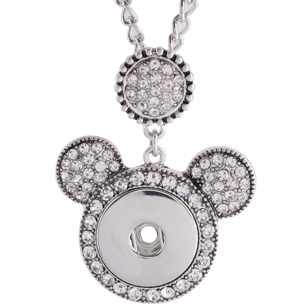 "Snap Jewelry Necklace & Pendant - Mouse Rhinestone 20""+3"""