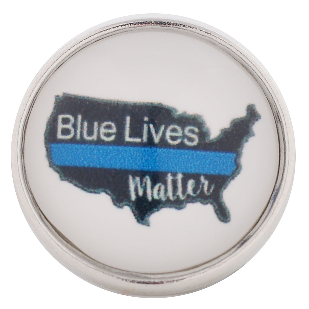 Snap Glass Jewelry - Police Blue Line