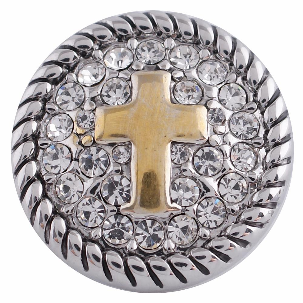 Snap Jewelry Rhinestone - Cross Silver & Gold