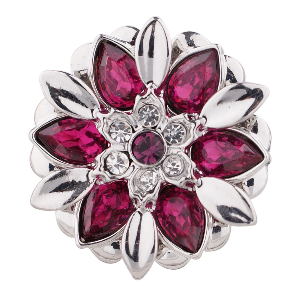 Snap Jewelry Rhinestone - Flower Dark Pink & Clear