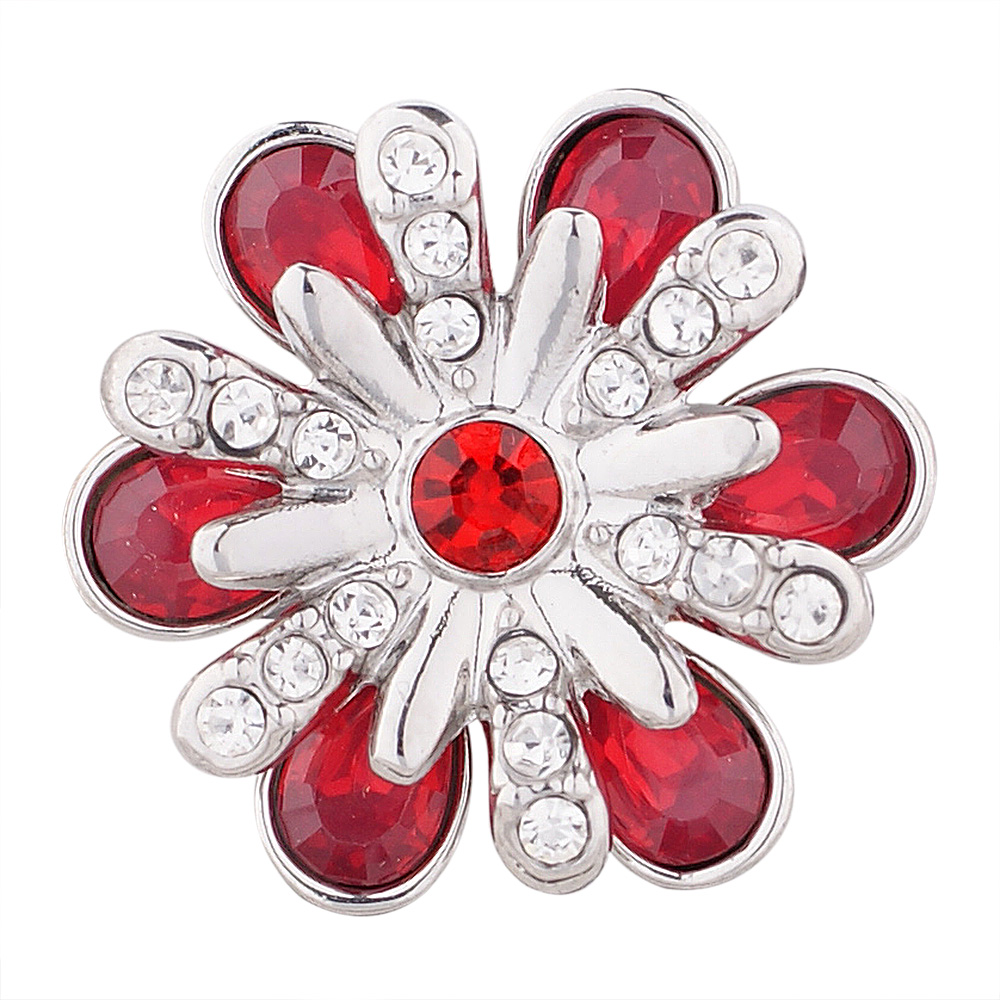 Snap Jewelry Rhinestone - Flower Red & Clear