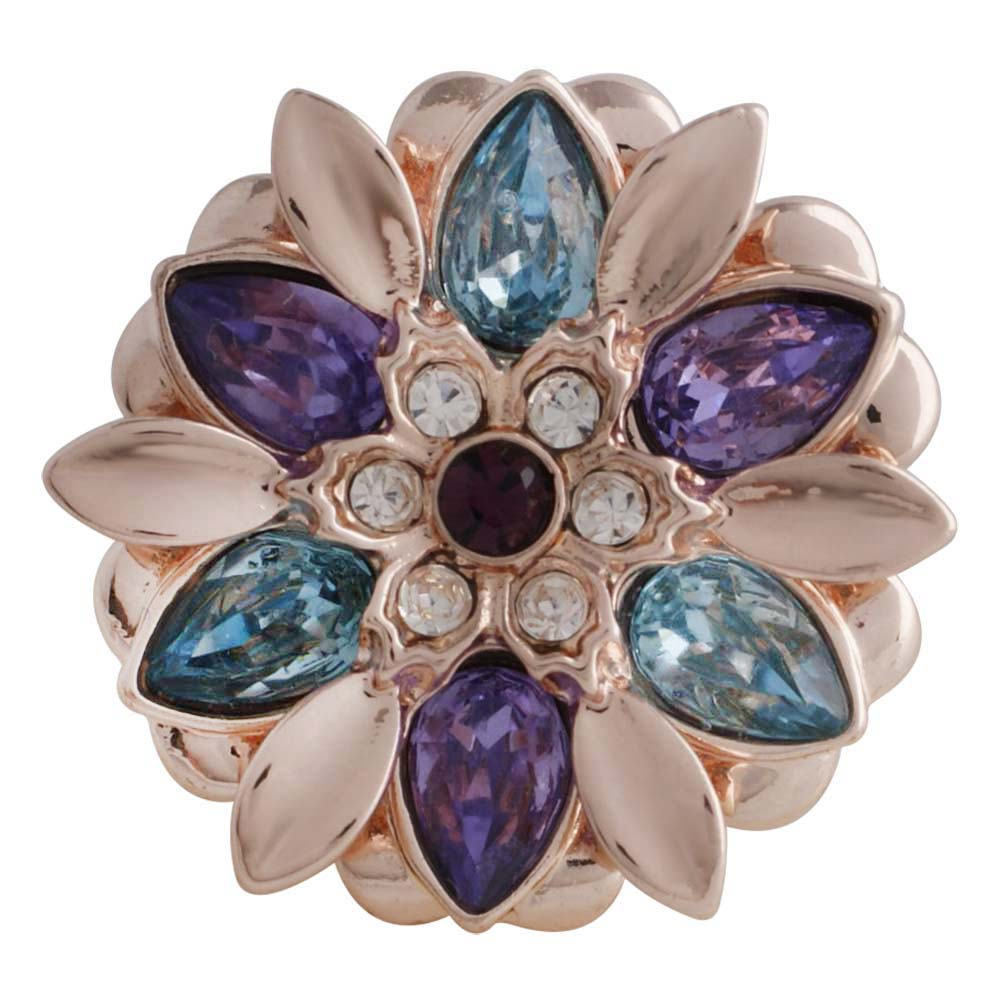 Snap Jewelry Rhinestone - Rose Gold Blue, Purple & Clear Flower