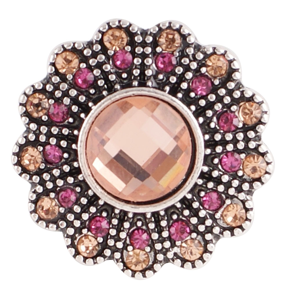 Snap Jewelry Rhinestone - Antique Designer Peach and Pink