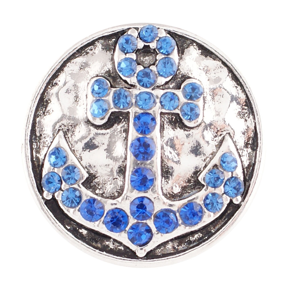 Snap Jewelry Rhinestone - Anchor Blue