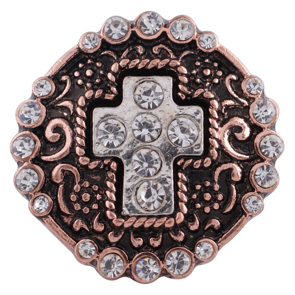 Snap Jewelry Rhinestone - Cross Rose Gold & Silver