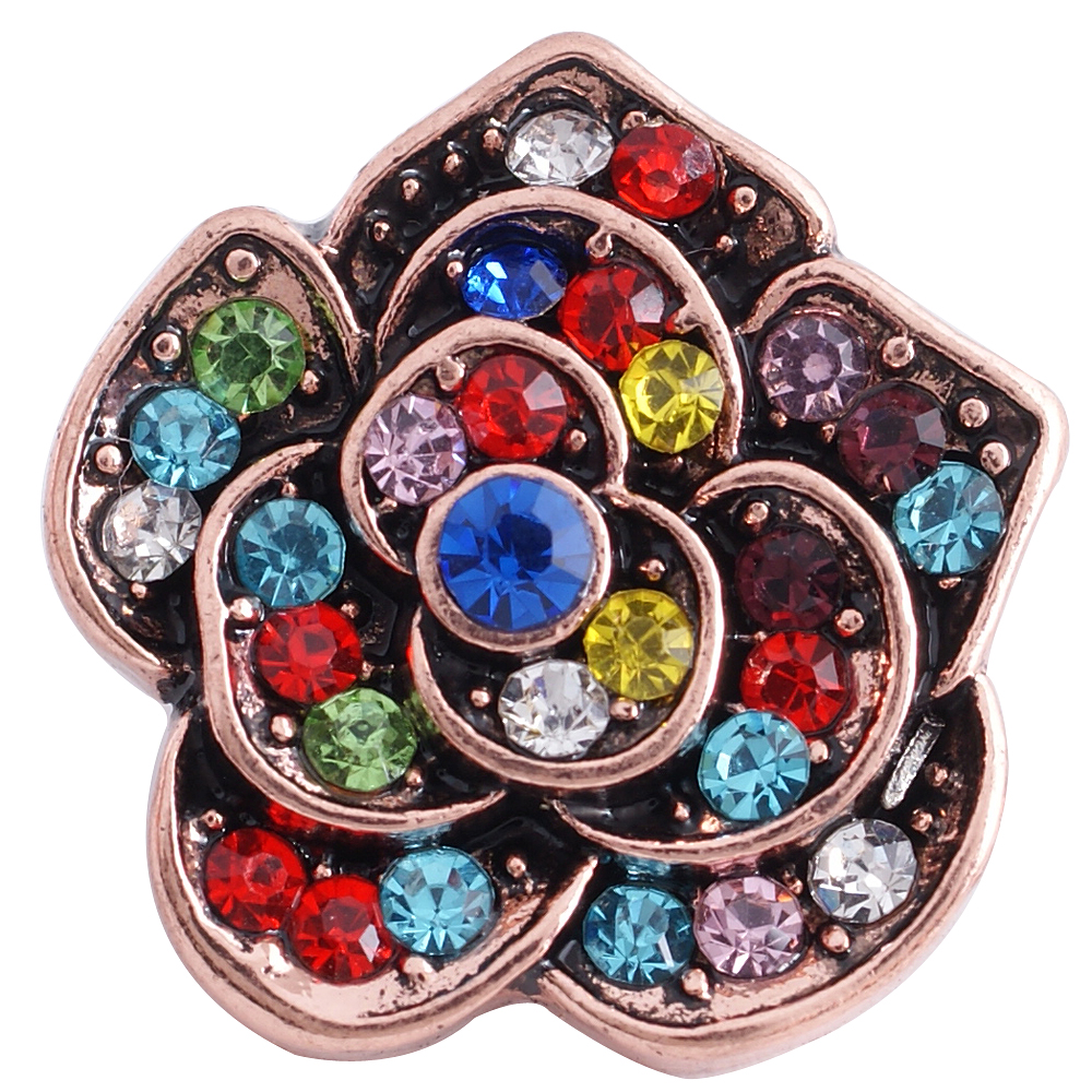 Snap Jewelry Rhinestone - Rose Gold Flower Multi-Color