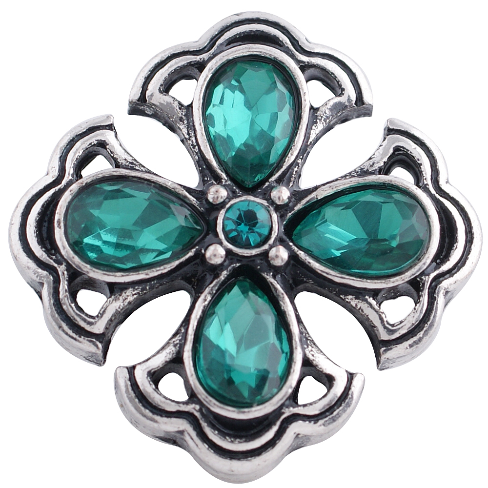 Snap Jewelry Rhinestone - Cross Green