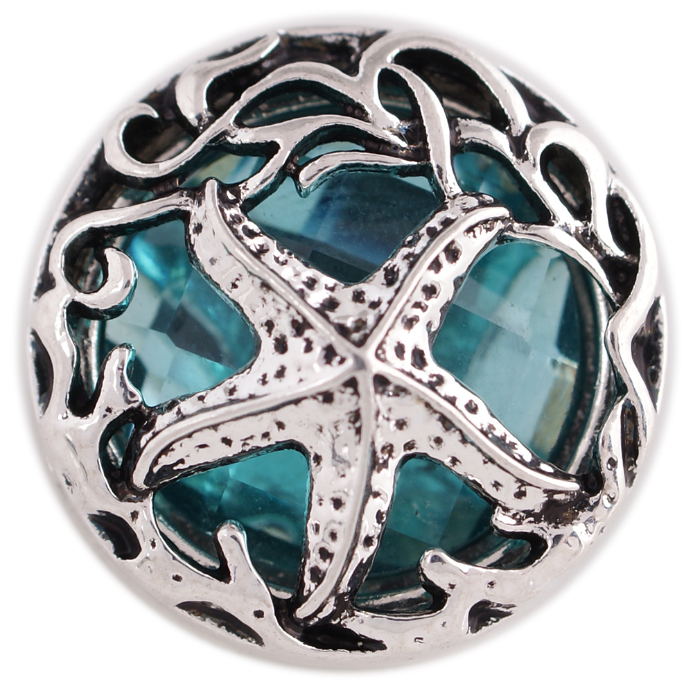 Snap Jewelry Rhinestone - Starfish on Faceted Teal