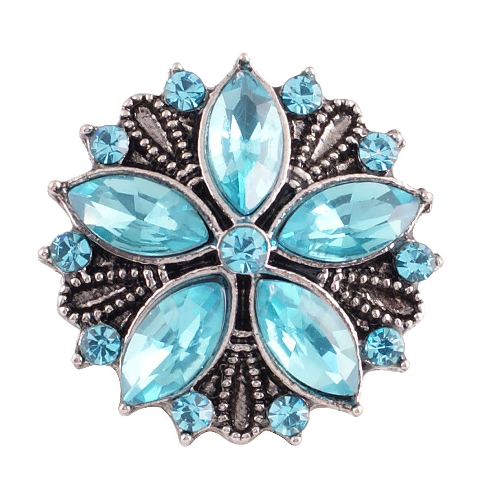 Snap Jewelry Rhinestone - Antique Designer Flower Light Blue