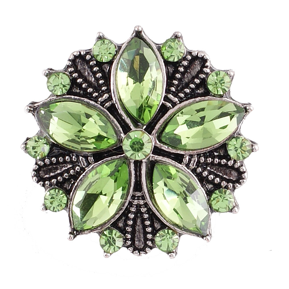 Snap Jewelry Rhinestone - Antique Designer Flower Light Green
