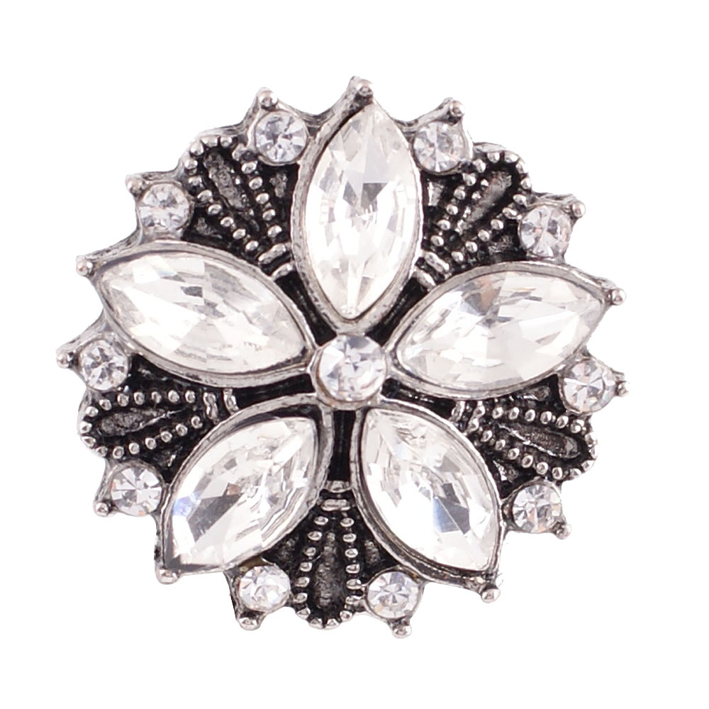 Snap Jewelry Rhinestone - Antique Designer Flower Clear