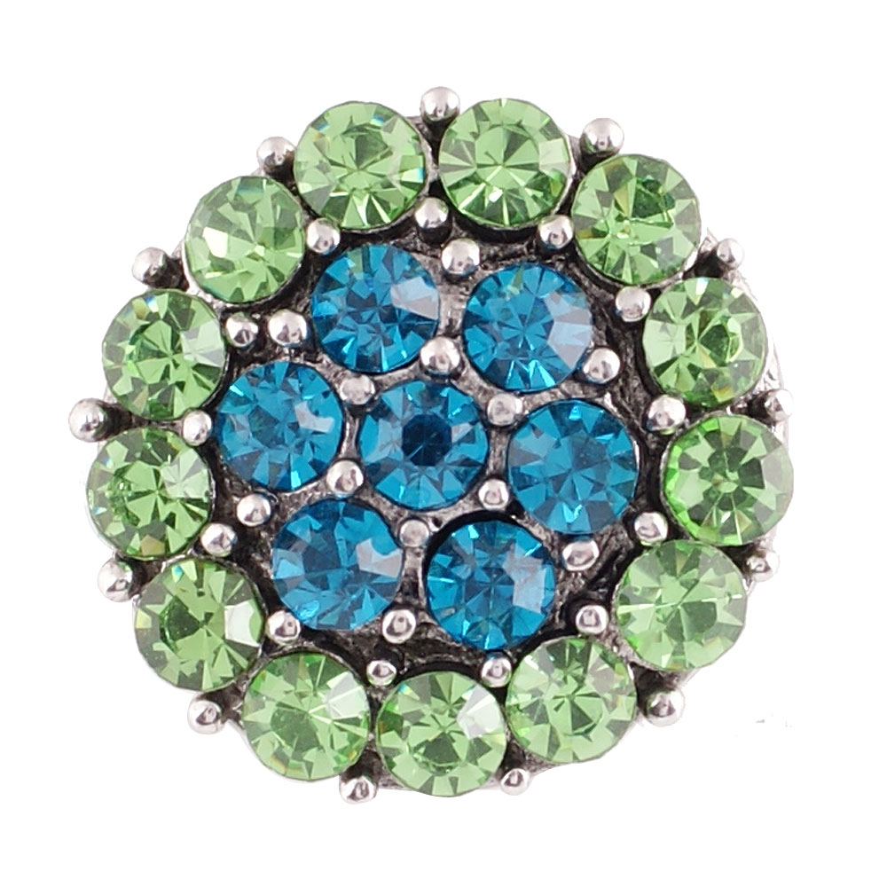 Snap Jewelry Rhinestone - Teal Blue & Lime