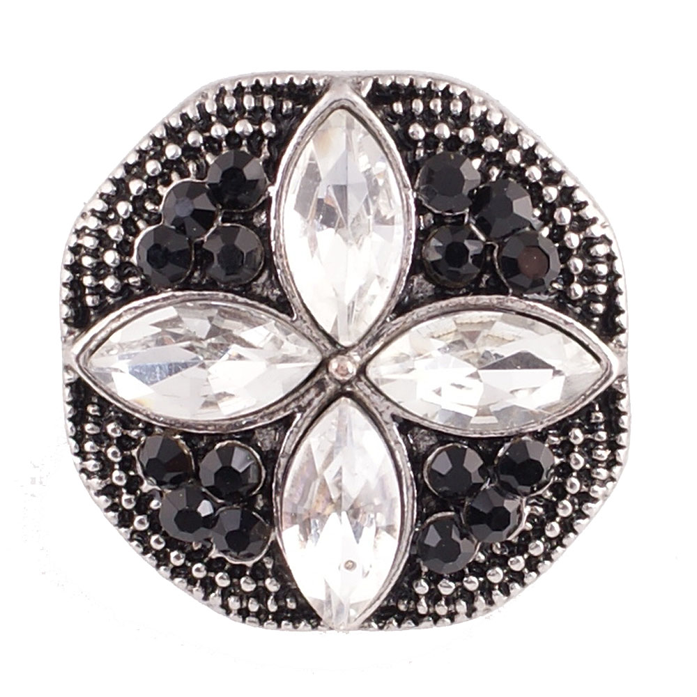 Snap Jewelry Rhinestone Cross - Black & Clear