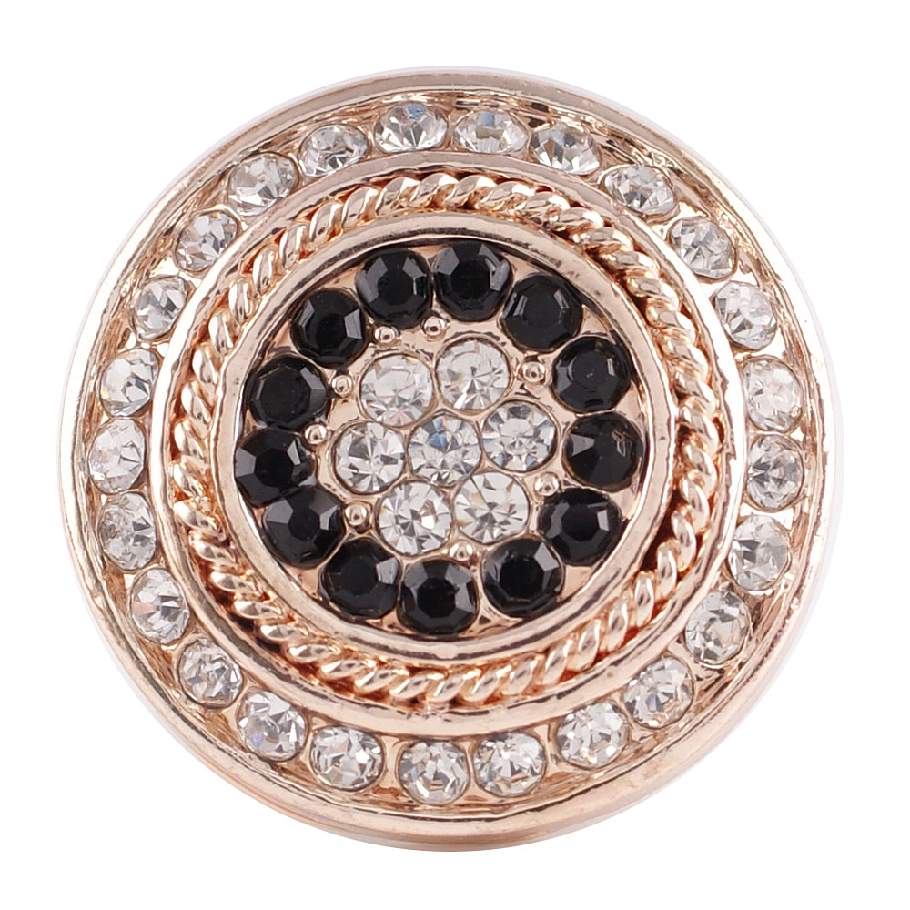 Snap Jewelry Rhinestone - Rose Gold Black & Clear