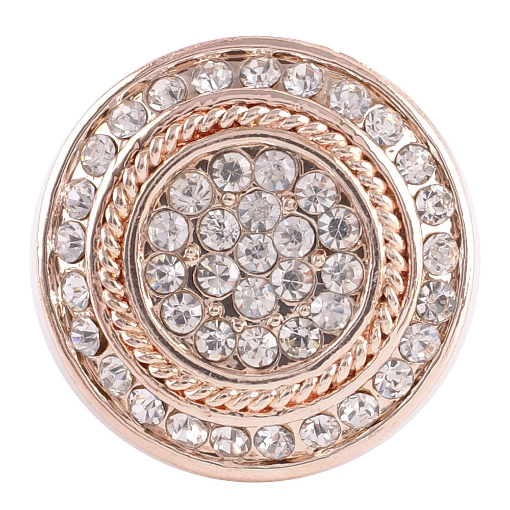Snap Jewelry Rhinestone - Rose Gold Clear Halo