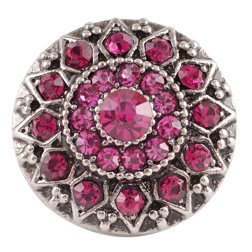 Snap Jewelry Rhinestone - Antique Designer Pink
