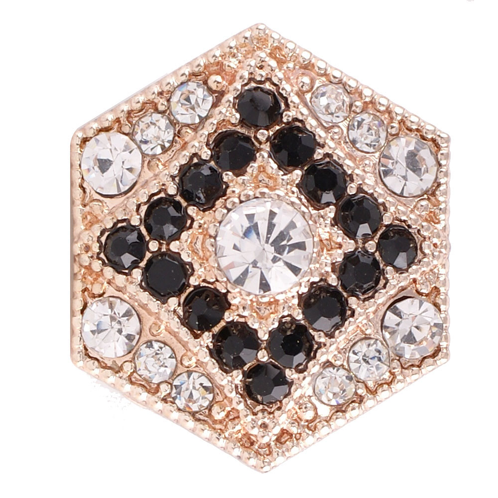 Snap Jewelry Rhinestone - Rose Gold Black & Clear Diamond
