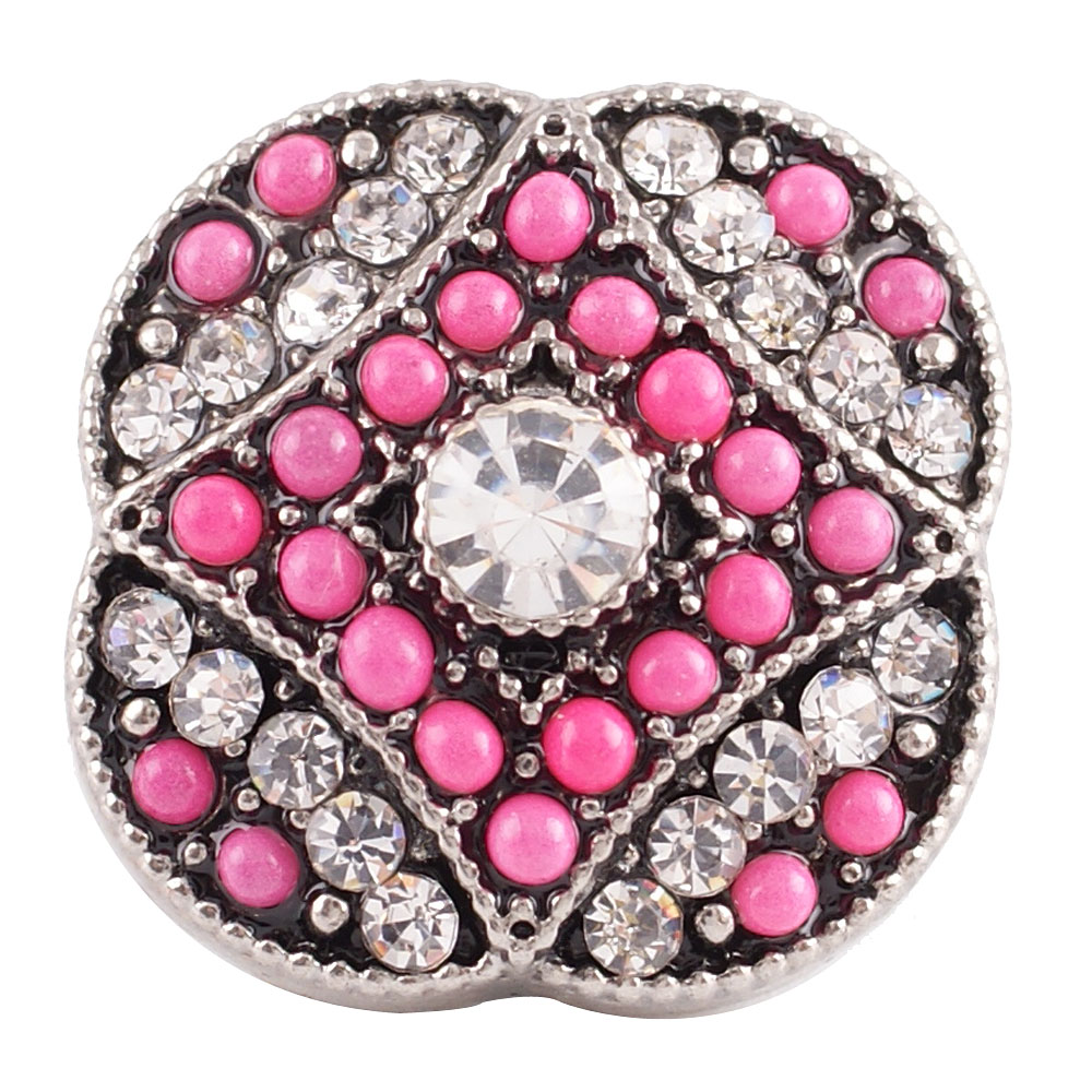 Snap Jewelry Rhinestone - Pink & Clear