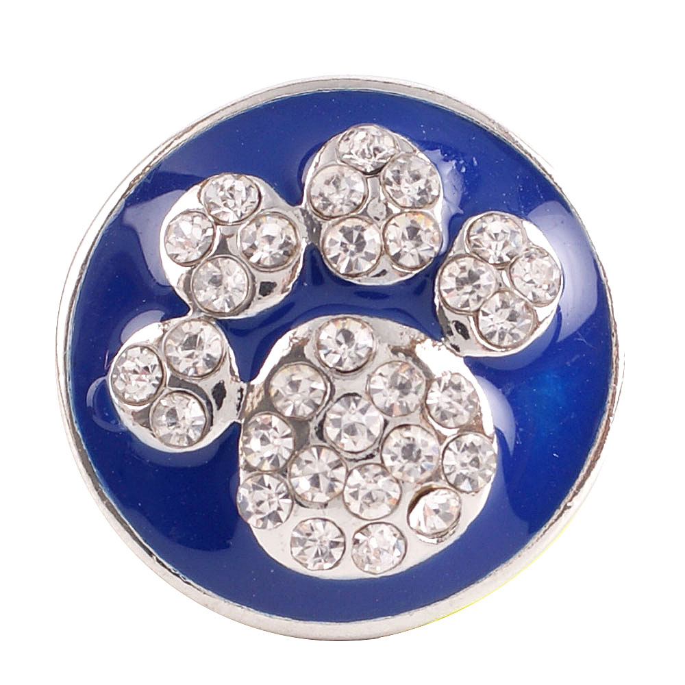 Snap Jewelry Rhinestone Enamel - Blue & Clear Dog Paw