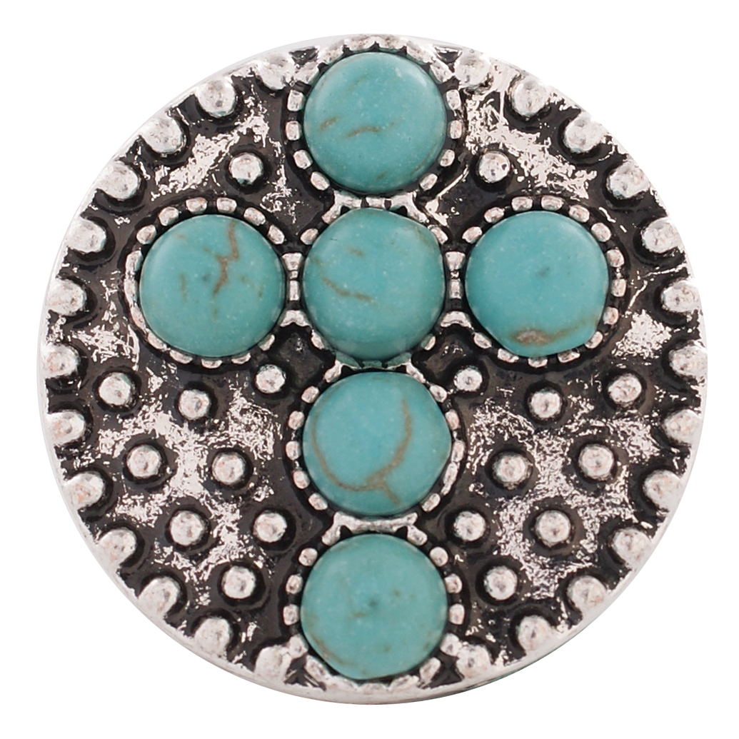 Snap Jewelry Gemstone - Turquoise Cross