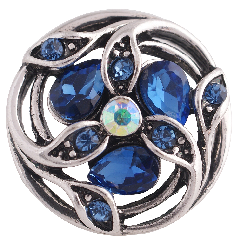 Snap Jewelry Rhinestone - Teardrop Flower Spiral Dark & Lt. Blue