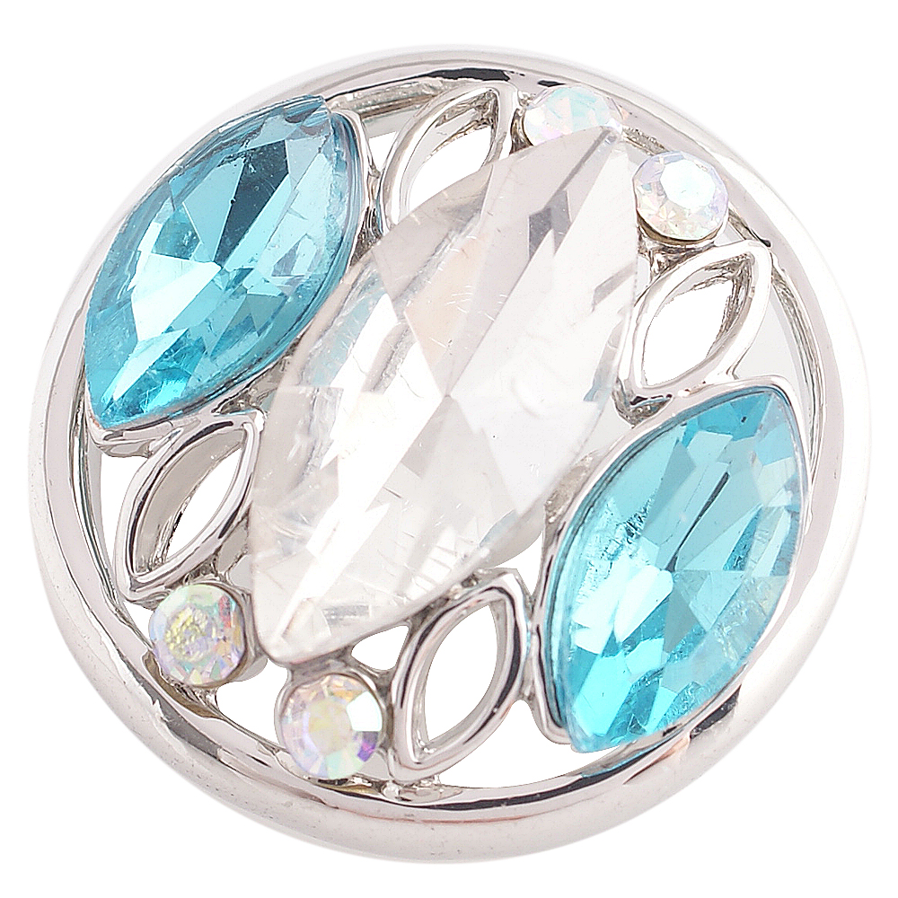 Snap Jewelry Rhinestone - Marquise Design Clear & Light Blue