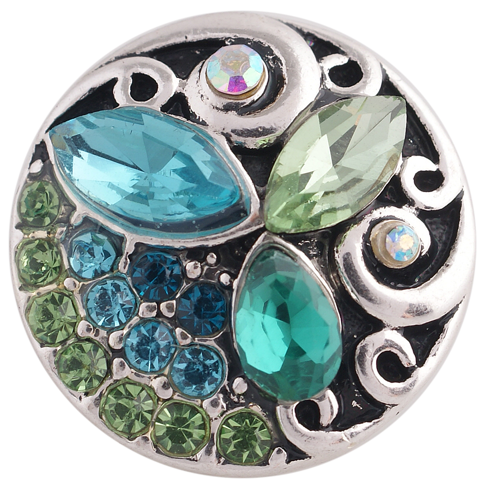 Snap Jewelry Rhinestone - Design - Peridot, Teal & Light Blue